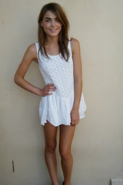 Dress Bambi White Dress White Lace Short Dress Pufft Summer Dress Loose Dress Crochet