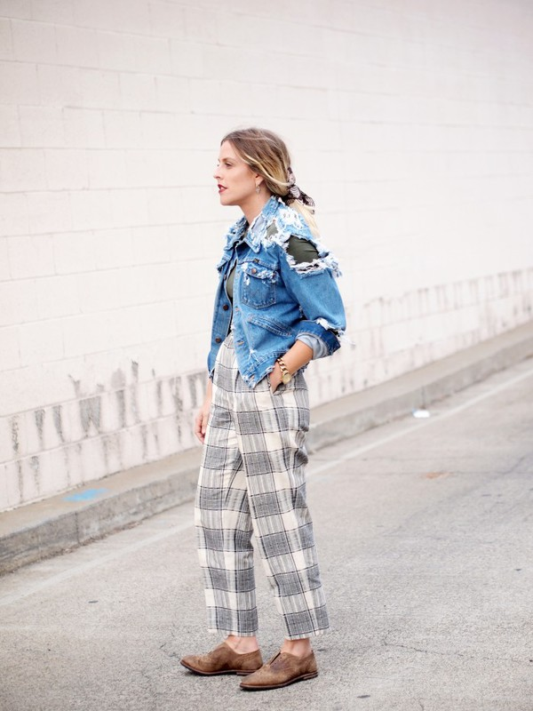 b. jones style blogger top jacket jewels ripped denim checkered
