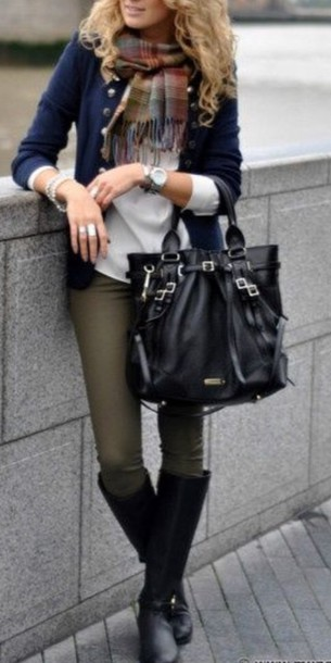 Jeans style scarf boots black navy sage green fall outfits - Wheretoget