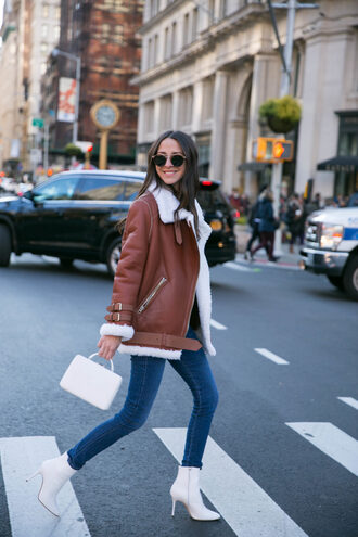 jacket tumblr shearling jacket shearling brown shearling jacket denim jeans blue jeans skinny jeans boots white boots sunglasses bag white bag