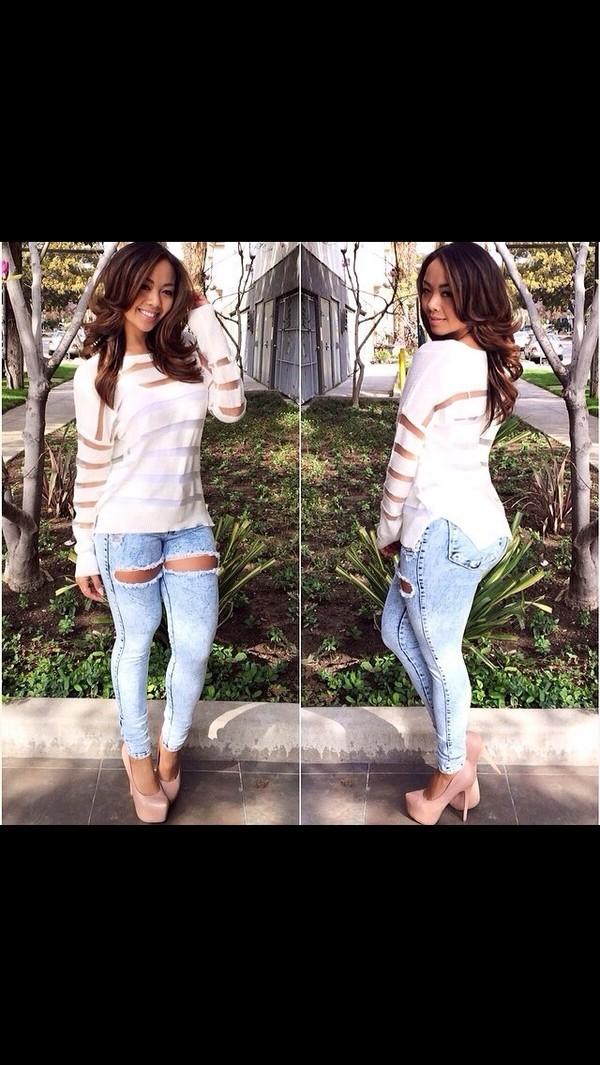 jeans shoes t-shirt shirt top