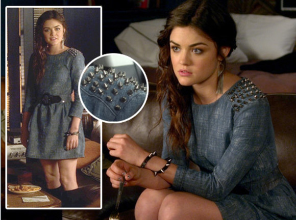 dress pretty little liars aria montgomery fashion style outfit lucy hale aria studs sweet Belt bracelets jewels boots shoes