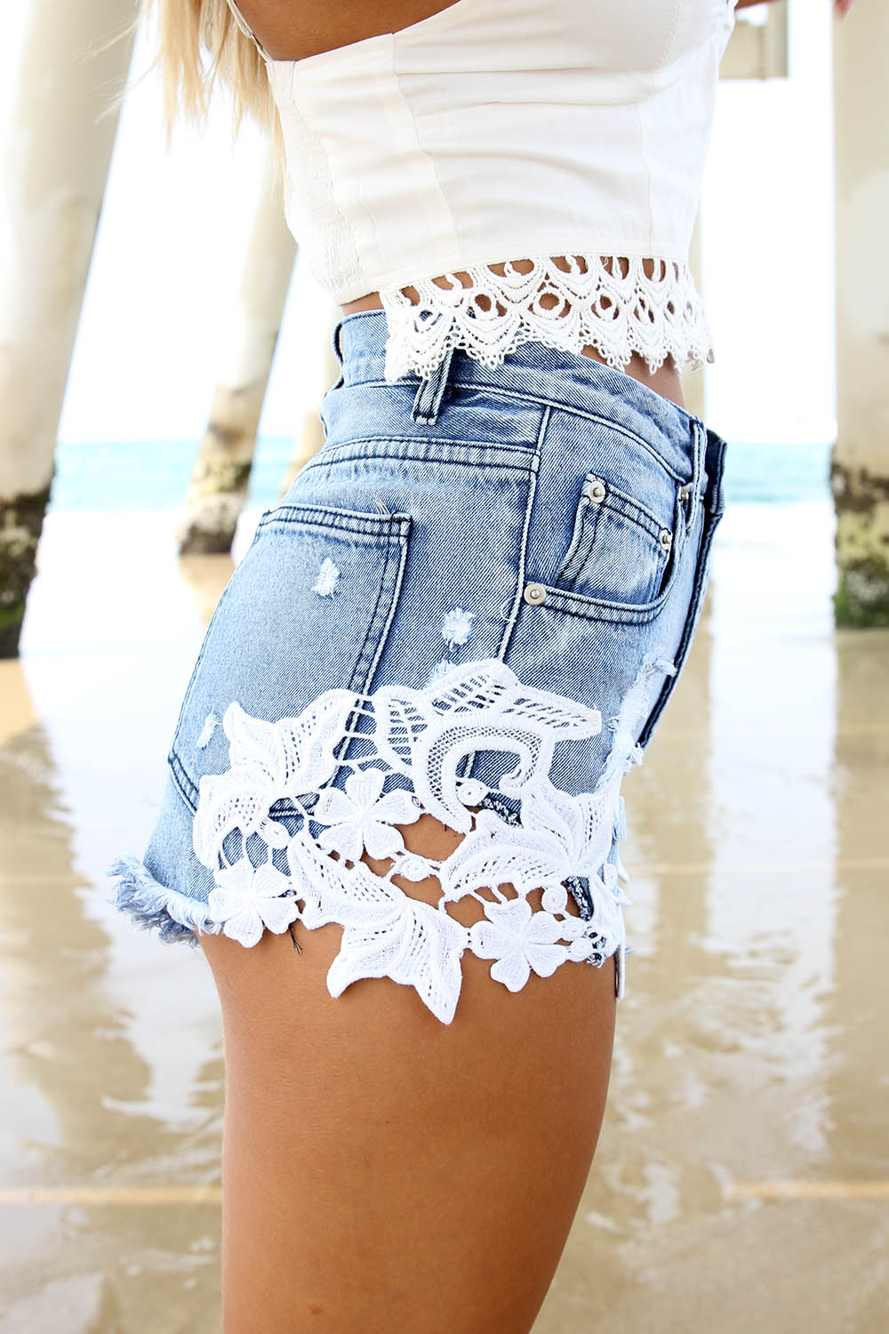 Blue Denim Fortune Shorts | SABO SKIRT