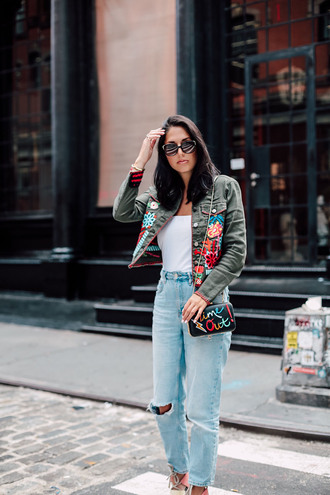 jacket embroidered top tumblr cropped jacket denim jeans blue jeans ripped jeans white top sunglasses bag