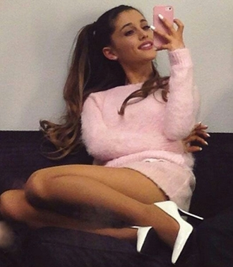 sweater fluffy pink cotton skirt white heels outfit ariana grande grande shoes