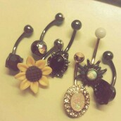 jewels,belly ring,gold,bronze,silver,sun,rose,sunflower,pink stone,pink jewel,white,black rose,belly button ring