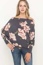 blouse,charcoal gray,faded plum,floral,pink,off the shoulder,dolman top
