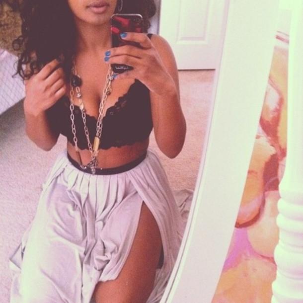 skirt double split lacy girly flouncy bralette grey black shirt crop tops maxi skirt
