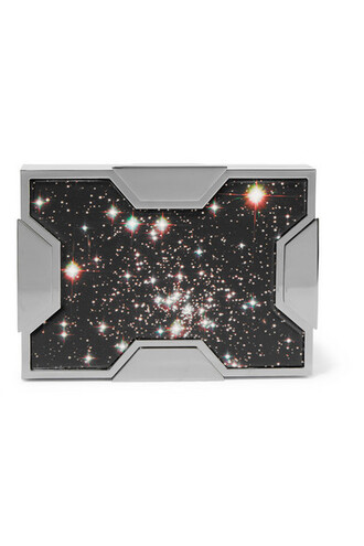 space clutch silver leather bag
