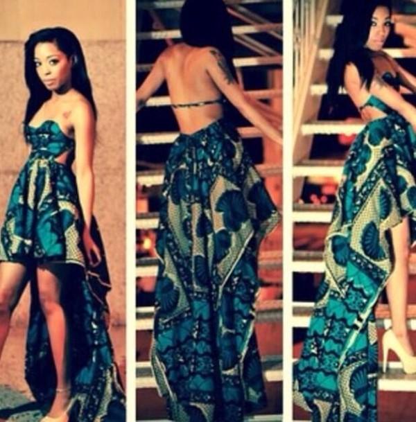 dress floral tropical tropical hi low dresses green blue strapless