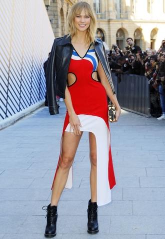dress asymmetrical dress asymmetrical boots louis vuitton streetstyle karlie kloss paris fashion week 2016 model