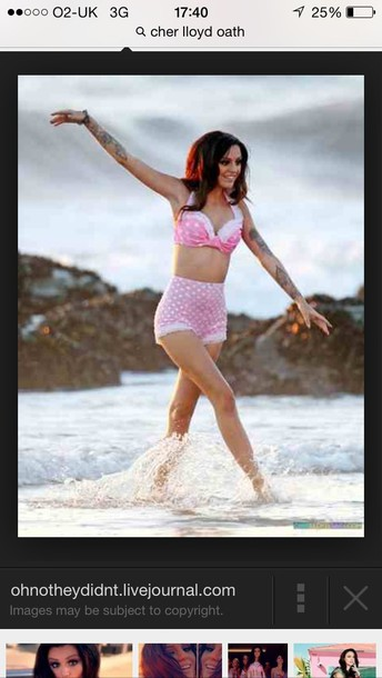 swimwear pink spotty swimwear