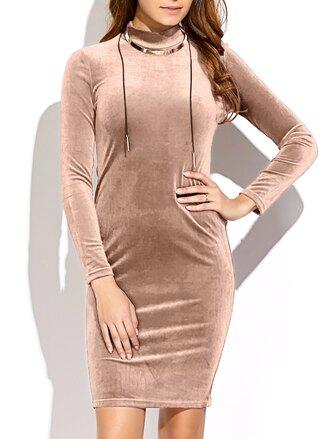 dress fashion long sleeves velvet fall outfits trendy warm zaful