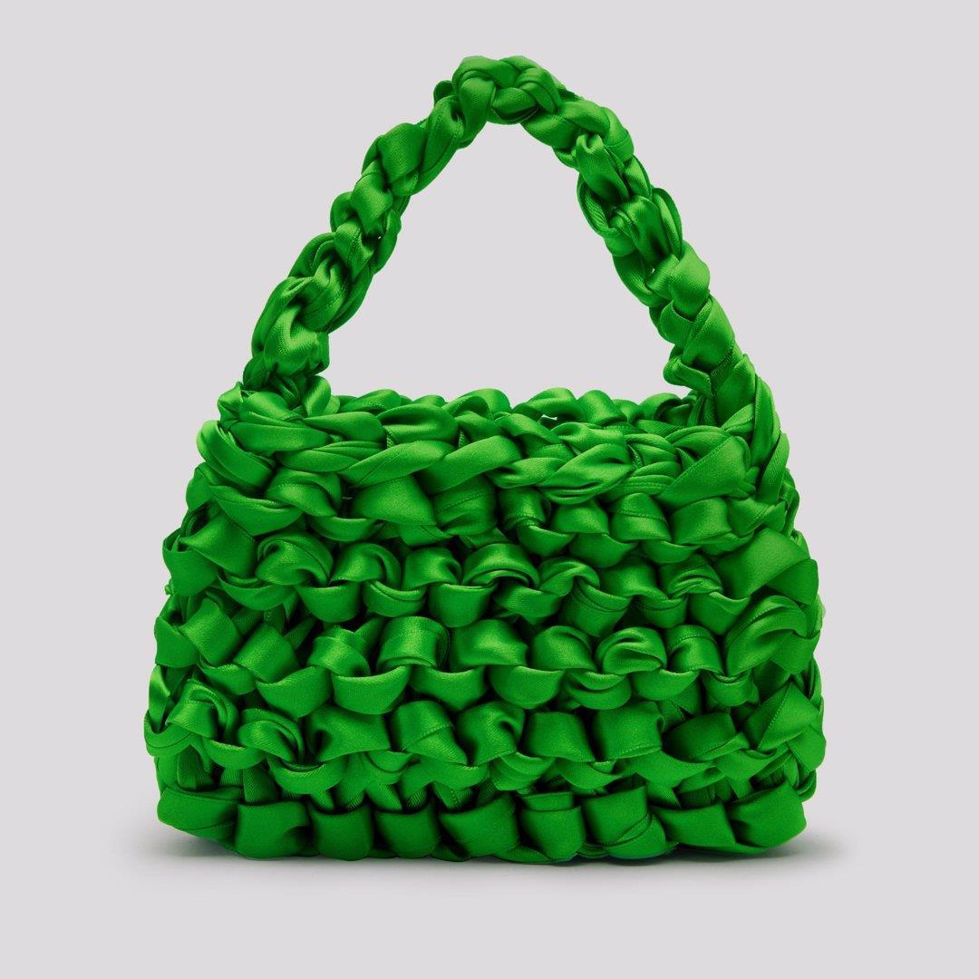 Theodore Seafoam Green Satin Mini Tote Bag