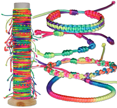 Bright satin multi-colored bracelets