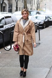 winter coat,sophia bush,top,purse