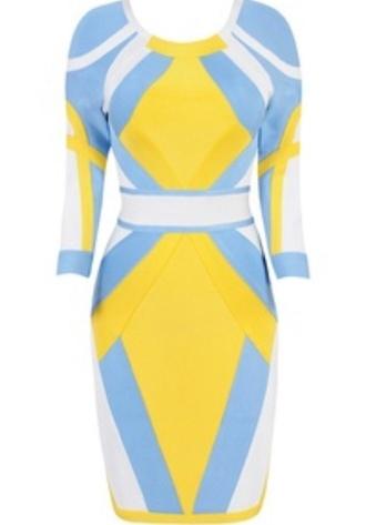 dress bandage dress yellow blue white
