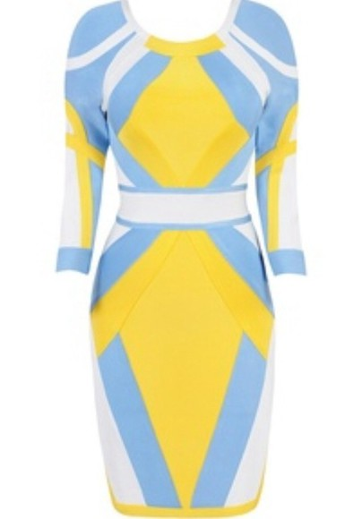 dress bandage dress yellow blue white