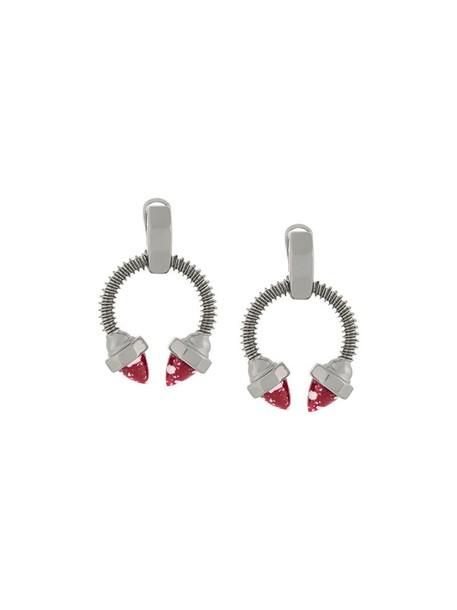 ESHVI women earrings grey metallic jewels