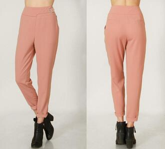 pants slacks taupe rose designer junior office work