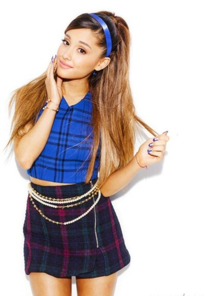 skirt jewels blouse t-shirt blue skirt cute cute dress blue dress ariana grande tartan make-up blue shirt shorts shirt band t-shirt hair bow nail polish ring ripped jeans