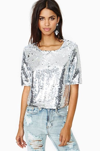 top silver crop tops sequins sequin shirt