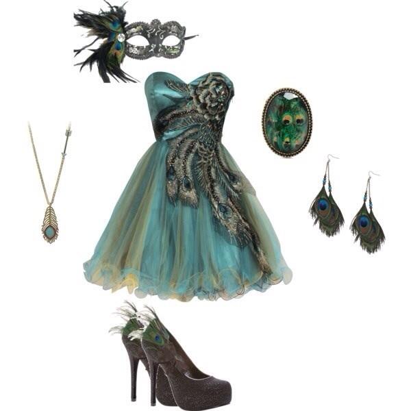 dress peacock prom dress