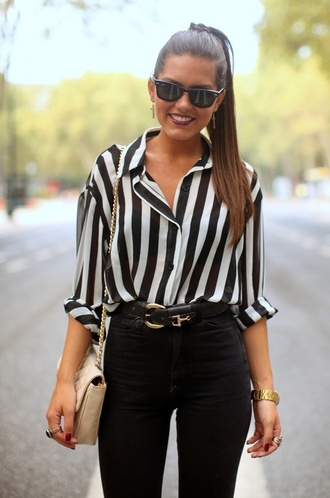 blouse striped shirt loose