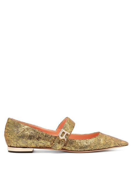 flats gold shoes