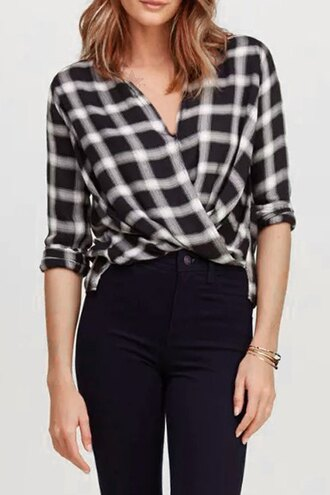 blouse plaid zaful vintage black and white checkered chic casual summer style
