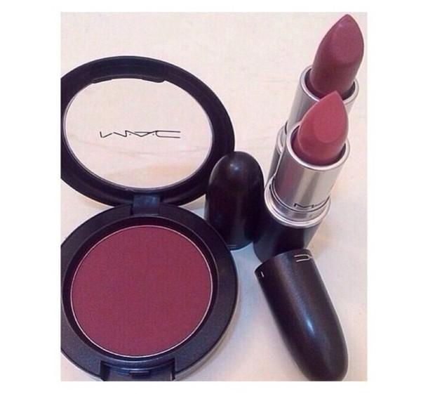 make-up colorful lipstick mac cosmetics mac lipstick mac cosmetics makeup bag love more cheek blush