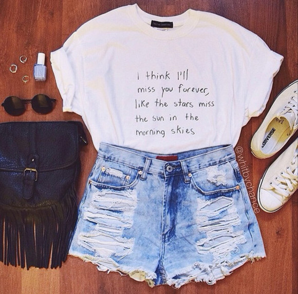 white top t-shirt shorts bag graphic tee distressed denim shorts converse sunglasses