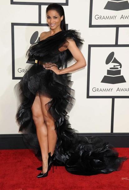 dress gown couture dress ciara grammys 2015 fashion one shoulder black high low dress