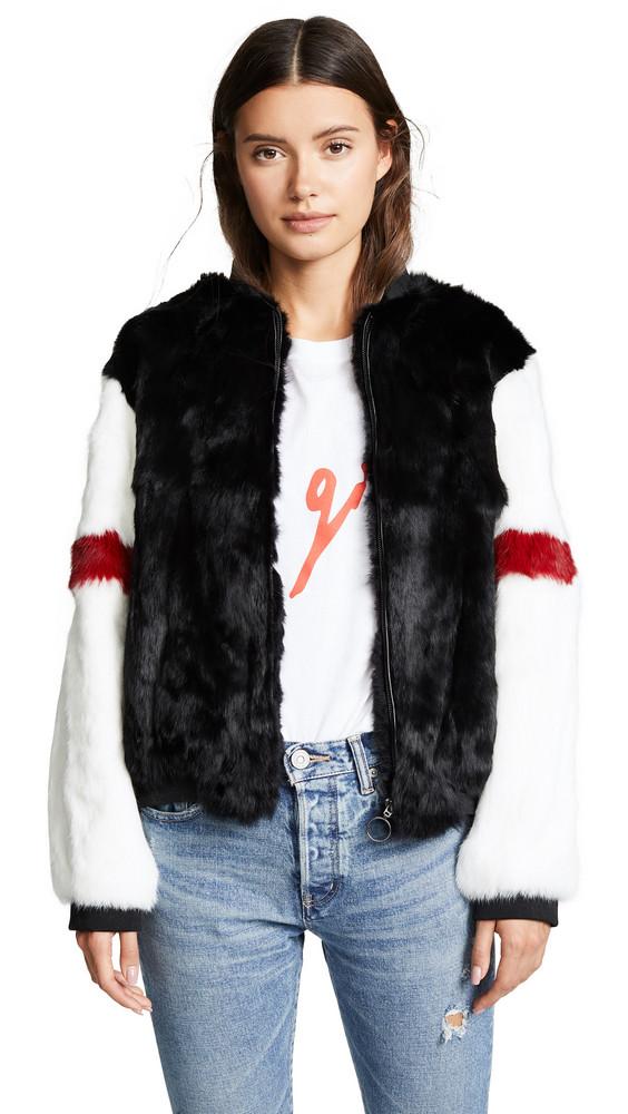 Adrienne Landau Fur Bomber in black