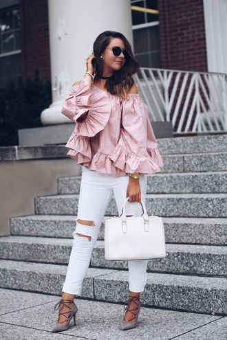 fashionably kay blogger shoes bag sunglasses pink top ruffle ruffled top white jeans ripped jeans white bag aviator sunglasses lace up heels grey heels off the shoulder off the shoulder dress off the shoulder top handbag black choker choker necklace white ripped jeans