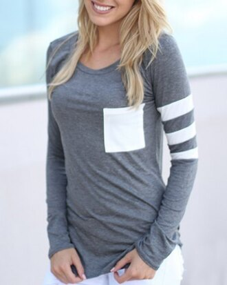 top grey casual white pocket t-shirt long sleeves cute sweater