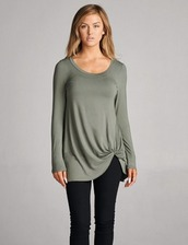 shirt,olive green,knot,tunic,long sleeves