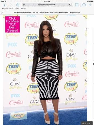 bland and white zebra print pencil skirt kim kardashian top