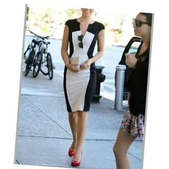 dress figure flattering olivia wilde celebrity style steal black and white dress body-con dress