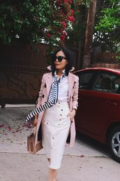 skirt,tumblr,coat,pink coat,midi skirt,pencil skirt,white skirt,shirt,white shirt,trench coat,bag,office outfits,sunglasses,spring outfits,buttoned skirt,a-line skirt,handbag,blogger,blogger style
