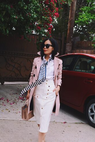 skirt tumblr coat pink coat midi skirt pencil skirt white skirt shirt white shirt trench coat bag office outfits sunglasses spring outfits buttoned skirt a-line skirt handbag blogger blogger style