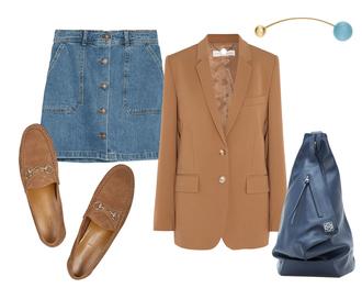 look de pernille blogger jacket shoes skirt jewels bag