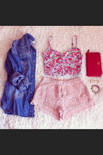 shirt ruffle shorts pink summer flowered shorts bandeau denim shirt shorts pink lace shorts pink courset red courset crop tops lace shorts pink shorts tank top outfit diy jacket cute blouse bag pants pajamas high waisted shorts pink lace love spring outfits flowers nice pretty pink by victorias secret bralette bustier floral flowered top lace shorts light pink crochet cutie summer shorts top denim jacket button down lace