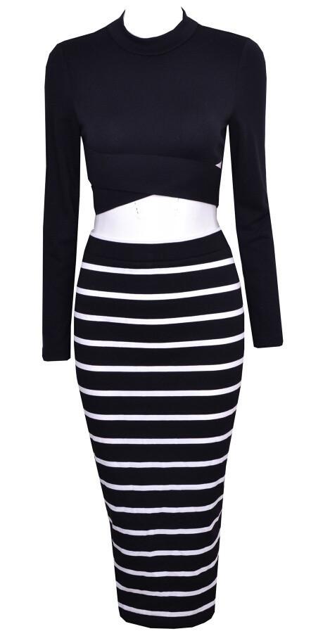"""hollywood dreams"" two pieces stripes dress set – glamzelle"