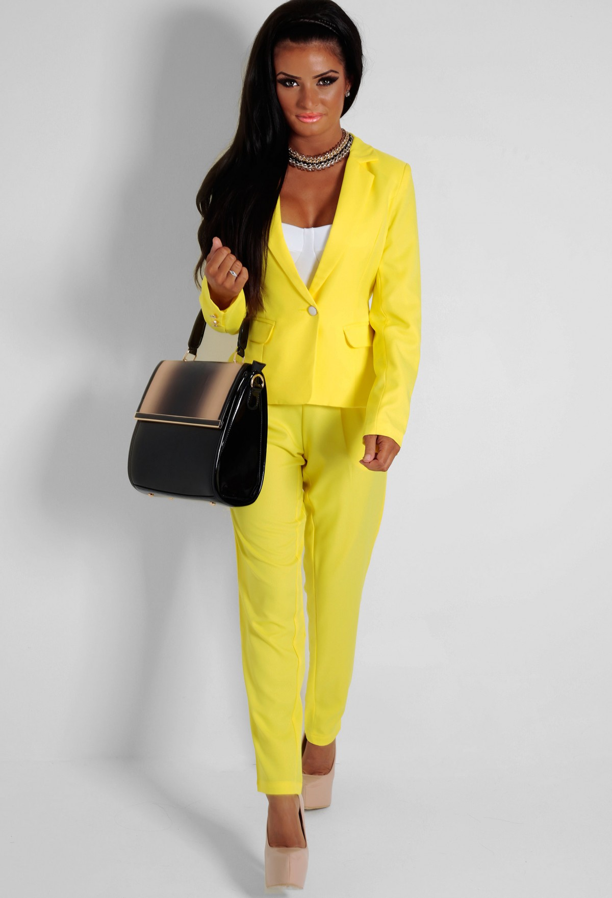 Butterkist yellow fitted pocket blazer