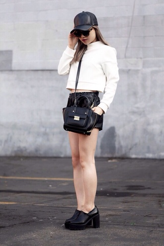 skirt black mini skirt sequins platform shoes leather hat sunglasses
