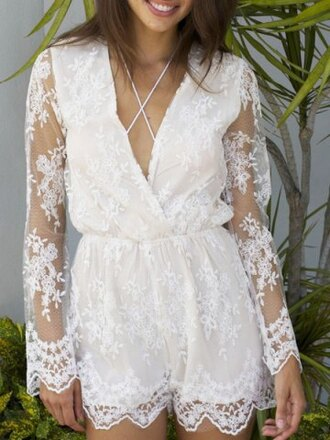 romper lace cross boho gypsy fashion style summer see through long sleeves