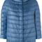 Herno - three-quarter sleeve puffer jacket - women - cotton/polyamide/acetate - 40, blue, cotton/polyamide/acetate