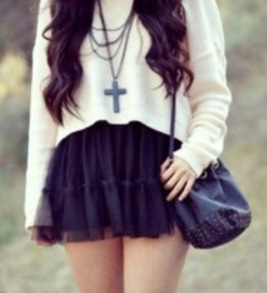 sweater black purse tumblr cross necklace sweater weather black skirt skirt tumblr outfits