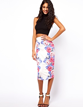 ASOS Pencil Skirt in Mirror Floral Print at ASOS